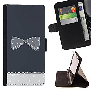 Momo Phone Case / Flip Funda de Cuero Case Cover - Gris crochet Polka Dot - LG G4 Stylus H540