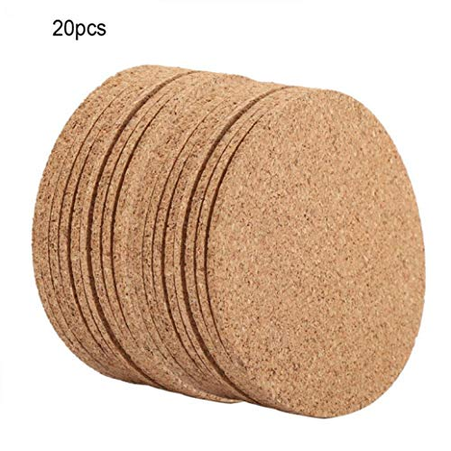 RXIN Wooden Tea Cup Mats Natural Soft Placemats Cork Hot Heat Drink Coffee Milk Tea Mug Pads Decorative Coasters 20pcs/Set (Owl Placemat Cork)