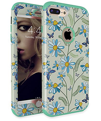 iPhone 7 Plus Case iPhone 8 case Flower Three Layers heavy duty Shockproof Soft Silicone Anti-Scratch Anti-Fingerprint Hard PC Hybrid Protective Case for iPhone 7 Plus(Green+Sunflower)