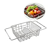Stainless Steel Telescopic Drain Basket Durable Dish Kitchen Vegetable Sink Washing Basket