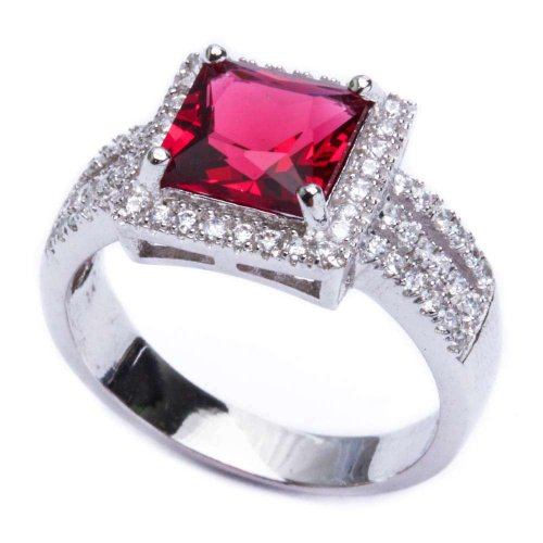 Simulated Ruby Cocktail Ring (.925 Sterling Silver 5.50ct Princess Cut Simulated Ruby & Cz Ring Size 7)