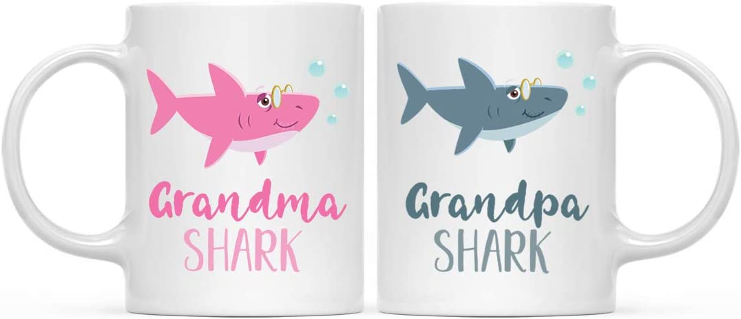 Andaz Press Baby Shark Family 11oz. Coffee Mug Gift Set, Grandma Shark, Grandpa Shark, 2-Pack, Shark Do Do Do Gift Idea Birthday Christmas Gifts