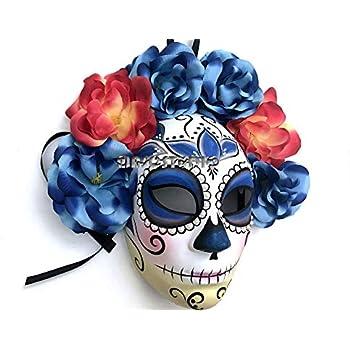 9c4c788e680e MASQSTUDIO Full Face Dia de Los Muertos Blue Masquerade Flower Mask Day of  The Dead Wear or Deco (Female Flower Only)