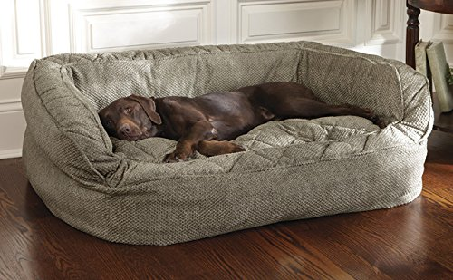 lounger deep dish dog bed herringbone