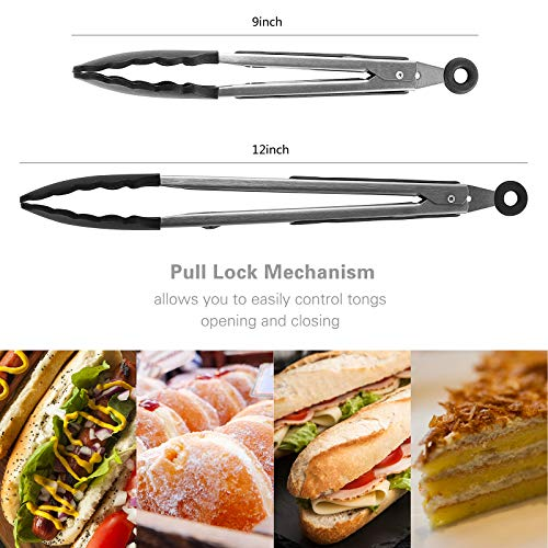 kenpiko Tongs for Cooking with Silicone Tips, 2 Pack Food-Grade Kitchen Tongs with Premium and Durable Stainless Steel, Silicone Tongs with Grill Brush and Cleaning Brush for Cooking, BBQ and Salad
