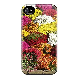 Tpu Case Cover For Iphone 4/4s Strong Protect Case - Chrysthanthemums Design
