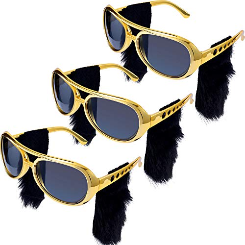 Elvis Presley Sideburns (3 Pieces Elvis Rockstar Glasses with Attached Beard Sideburns Sunglasses Glasses for 50s and 60s Party Rock Them Party)