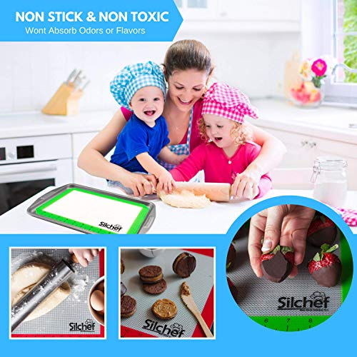Silicone Baking Mats  Set of 3  Baking Mats Non Stick Silicone BPA Free with Measurements  2 Half