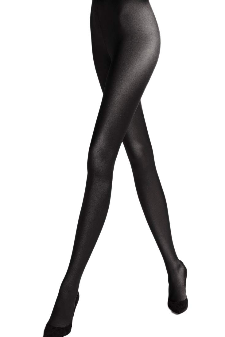 Wolford Satin De Luxe Tights-Black-Large by Wolford