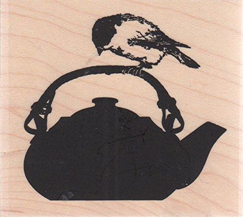 Chickadee Tea Kettle Wood Mounted Rubber Stamp (D13184) (Chickadee Tea)