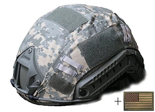 Camo Helmet Cover - OSdream Tactical Military Helmet Covers Camouflage Cover Airsoft Paintball Shooting Helmet Accessory Only A Cover and US Flag Patch without Helmet (ACU Camo)