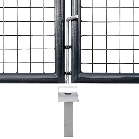 vidaXL Mesh Garden Gate Galvanised Steel 289x100cm Grey Farm Fencing Door