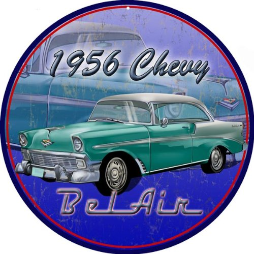 1956 Chevy Bel Air Round Hot Rod Reproduction (Bel Air Tin Sign)