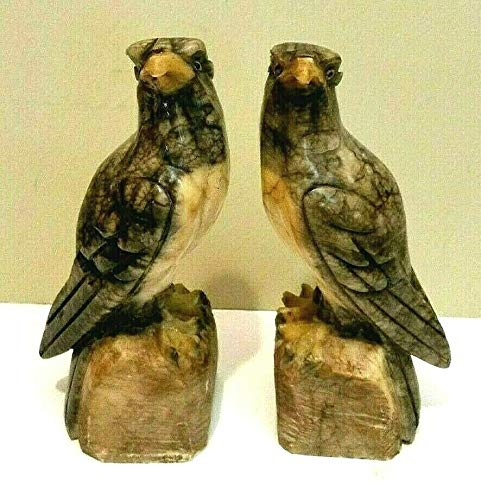 - ANTIQUE PAIR of CARVED ALABASTER HAWK/FALCON STATUES or BOOKENDS w/GLASS EYES
