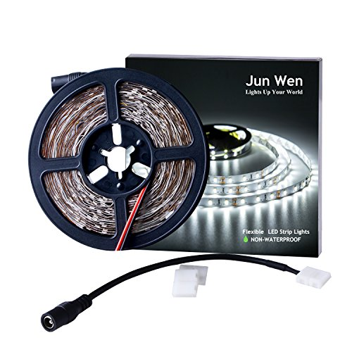 JUNWEN LED Strip Lights, 16.4ft 5M Tape Light, 300LEDS Daylights White, 12V Flexible Lighting Strip, SMD 2835, Non Waterproof, Hallway Staircase Corridor Collectable Bookshelf Under Cabinet ()