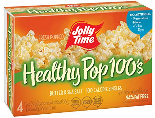 JOLLY TIME 100 Calorie Healthy Pop Butter Microwave Popcorn Mini Bags, 4Count Boxes (Pack of 12)