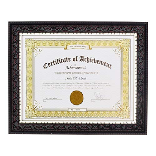 Golden State Art 8.5x11 Photo/Certificate Frame with Real Glass. Ornate Finish Style, Color Black with Silver and Burgundy