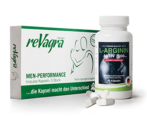 reVagra POTENZMITTEL für Männer 5 Kapseln - natürlich - rezeptfrei - wirkt + L-Arginin Super Plus 60 Kapseln Probierset