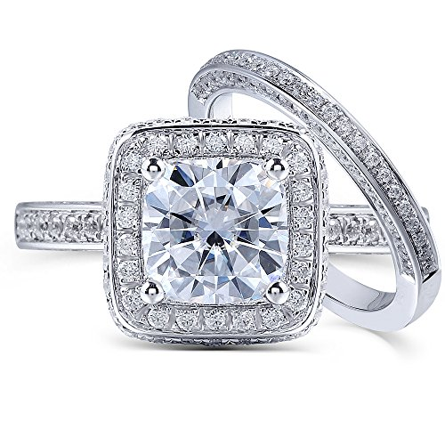 Cushion-cut, 1 2/3 CTW (DF) Moissanite Diamond Wedding Ring Set Soild 14k White Gold (2 Pieces Size 5) Moissanite Cushion Wedding Set Ring