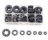 cSeao 270pcs Black Starlock Push On Locking Washers Assortment Kit, Speed Fasteners