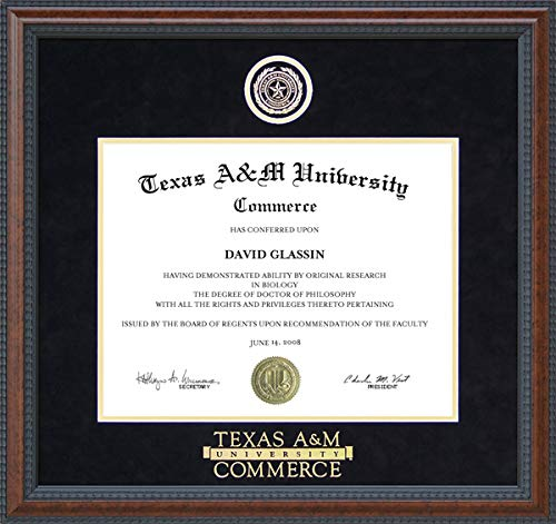 Wordyisms Texas A&M Commerce (TAMU-C) Diploma Frame with Embossed Logo