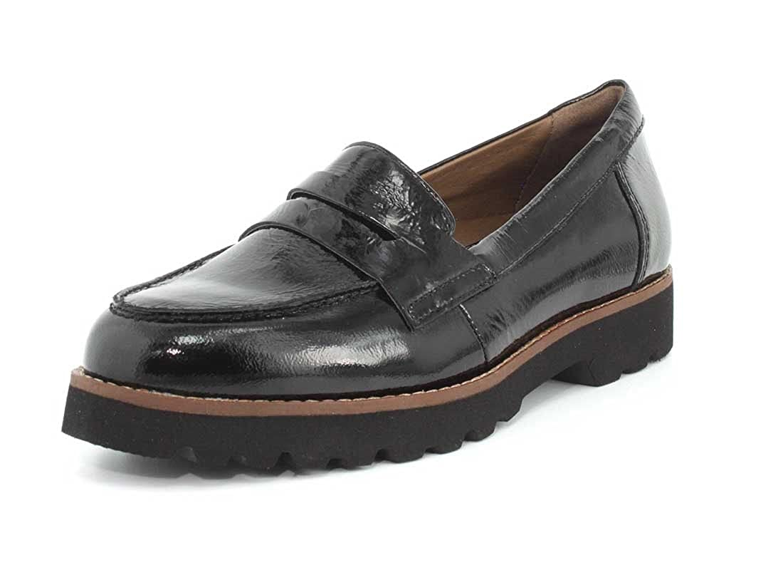c6a8574930985 Earthies New Women's Braga Penny Loafer Black Tumbled Patent 6