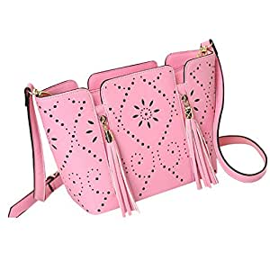 Yuanse®Pu hollow flowers fringed shoulder bag Messenger bag female fashion tide Y043 (dark pink )