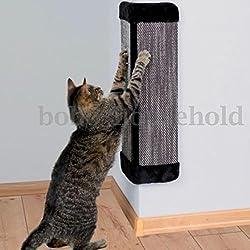 Pet Cat Kitten Corner Wall Hanging Scratching Board Post Toys Mat Scratcher (Beige)