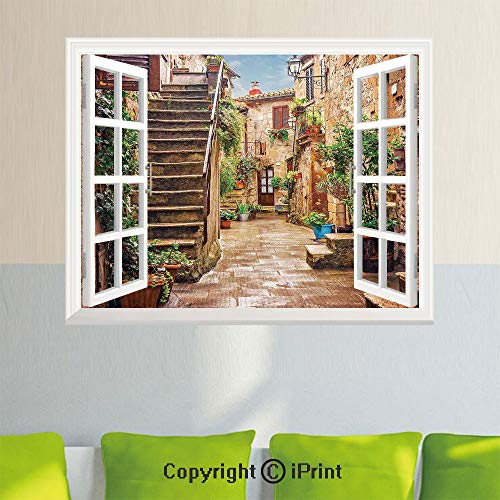 Simulation Window Stickers,View of an Old Mediterranean Street with Stone Rock Houses in Italian City Rural Culture Print,35.4X 23.6inch,Removable Wall Sticker,Home DecorMulti
