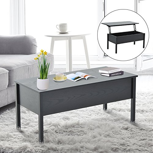 HomCom Lift Top Storage Coffee Table - Black