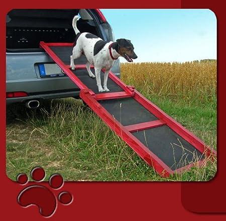 Hunderampe Rampe Rot Holz Nur 4 Kg Leicht Für Hunde Neu Garten