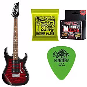 Ibanez GRX70QA GIO Electric Guitar (Transparent Red Burst) with Extra Strings, Wipes and Pics