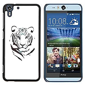 Stuss Case / Funda Carcasa protectora - Tigre Blanco Negro Tinta Minimalista África - HTC Desire Eye ( M910x )