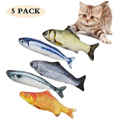 Spielzeug mit Katzenminze, 5 Stück katzenspielzeug Fisch, Fische Katze Kissen Kauen Spielzeug Set, 20CM Simulation Fisch…