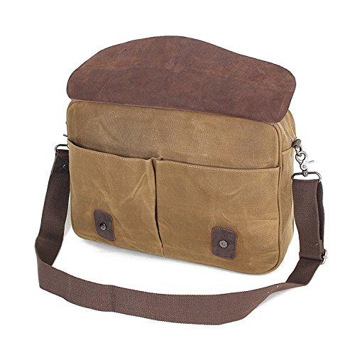 Khaki Men's Document Vintage Bag Canvas Oil Wax Men Crossbody Business Shoulder Official pPBpqr