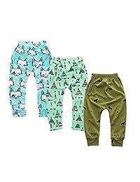 Mary ye 3-Pack Toddler Baby Harem Pants Boys Girls Cartoon Cozy Ankle Pants