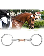 Horse Mouth Bit Stainless Steel Snaffle Bit Horse Ring Hollow Jointed Mouth Loose Thickeness Bit Loose Mouth Bit Roller for Horse Racing Accessory(10.5cm)