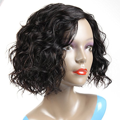 Amazon.com : Morichy Hair Human Hair Wigs for Women 100% Unprocessed Brazilian Virgin Hair Curly Wig None Lace Front Wig Natural Black Color (12inch wig) : ...
