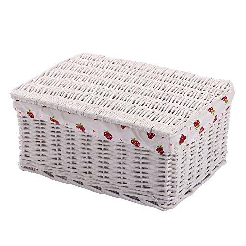 Fedorenko Handmade Woven Wicker Storage Baskets with Lid Liner Rectangular Bins Container Organizer Box (Large, White)