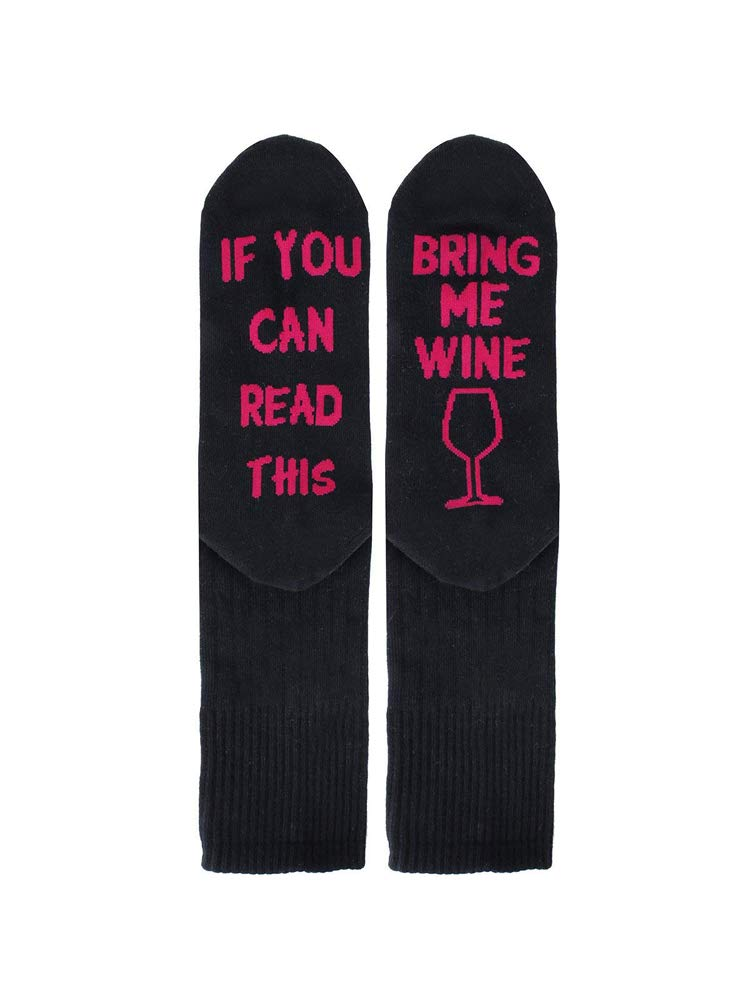 If You Can Read This Funny Saying Ankle Socks Bring Me Beer Wine Cotton Crew Socks for Men Women