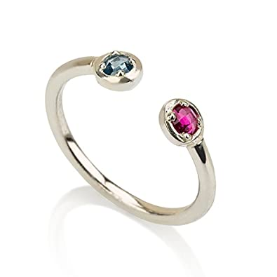 her twisted and his dual necklace birthstone charm ring l