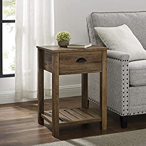 18 Inch Farmhouse 1 Drawer Side Table with Reclaimed Barnwood Finish