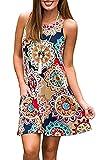 YeeATZ Women's Summer Casual Sleeveless Floral Printed Swing Dress Sundress with Pockets Navyblue M