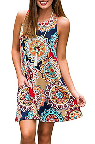 Women's Summer Casual Sleeveless Floral Printed Swing Dress Sundress with Pockets Navyblue L