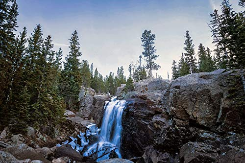 Peel-n-Stick Poster of Alberta Falls Cascade Landscape Colorado Waterfall Vivid Imagery Poster 24 x 16 Adhesive Sticker Poster Print