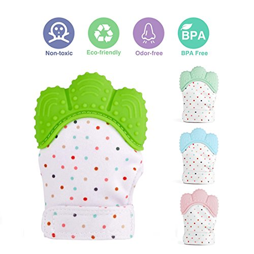 YOBAYE Baby Teething Mittens,Soft Food-Grade Silicone Baby Teether,BPA-Free Mitten Teething Glove,Self-Soothing Pain Relief Mitt Baby Teether Toys for 0–12 Months Infants,Green