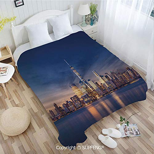 FashSam Plush Blanket New York Skyline Manhattan After Sunset Metropolis Downtown Urban Panorama USA(W39.4xL49.2 inch) Air Conditioning Comfort Warmth for Bedroom/Living Room/Camping etc (Time Difference Between The Uk And New York)