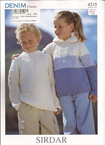 Sirdar Knitting Pattern 4215 Denim Chunky Sweaters (1 to 12 years)