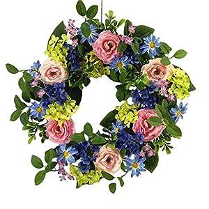 Wreaths For Door Pastel Garden Spring Door Wreath 20 Inch Summer Wreath Faux Green Blue Hydrangeas Daisies Purple Violets Pink Roses Assorted Greens Everyday Indoor Outdoor Decorating 15