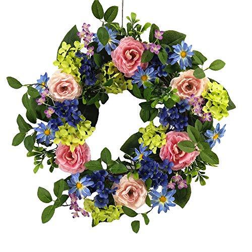 Wreaths For Door Pastel Garden Spring Door Wreath 20 Inch Summer Wreath Faux Green Blue Hydrangeas Daisies Purple Violets Pink Roses Assorted Greens Everyday Indoor Outdoor Decorating